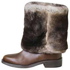 Chanel Rabbit-Fur and Leather Ankle Boots