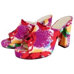 Chanel Rare 1990s Floral Terry-Cloth Mules