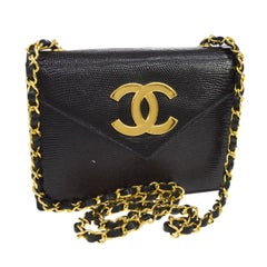 Chanel Black Exotic Leather Gold Hardware Logo Evening Shoulder Flap Bag