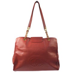 Chanel Red Caviar Large Carryall Overnight Weekender Travel Tote Shoulder Bag