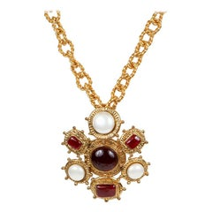 Chanel Red Gripoix and Pearl Medallion Brooch Necklace