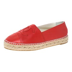 Chanel Red Leather CC Cap Toe Loafers Size 35