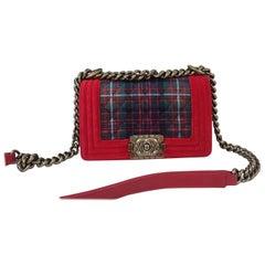 Chanel Red Velvet Quilted Plaid Tweed Paris-Edinburgh Small Boy Bag