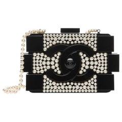 Chanel Runway Black Acrylic Pearl Box 2 in 1 Evening Clutch Shoulder Bag in Box