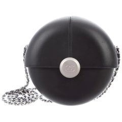 Chanel Runway Black Leather Silver Small Round Evening Clutch Shoulder Bag