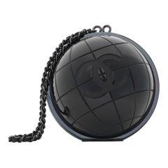 Chanel Runway Black Plexiglass World CC Top Handle Evening Wristlet Clutch Bag