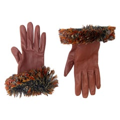 Chanel Runway Cognac Leather Causse Gloves with Lemarié Feathers, Pre-Fall 2013