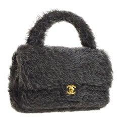Chanel Runway Kelly Fantasy Rabbit Fur Top Handle Satchel Evening Bag in Box