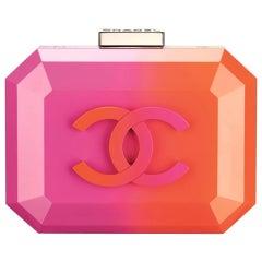 Chanel Runway Pink Orange Resin Silver Leather Evening Clutch Shoulder Box Bag