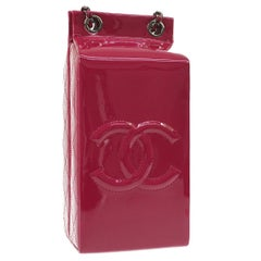 Chanel Runway Pink Patent Leather Milk Carton Silver Evening Shoulder Bag in Box