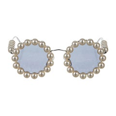 Chanel Runway Vintage Faux Pearl Silver Metal Round Tinted Sunglasses