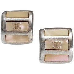 Chanel Silver and Mother of Pearl Huggie Earrings