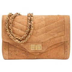 Chanel Tan Nude Cork Gold 2.55 Evening Shoulder Flap Bag in Box