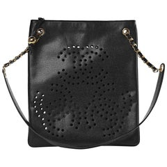 Chanel Vintage 90's Caviar Perforated CC Black Tote Bag
