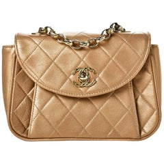 Chanel Vintage 90's Metallic Lambskin Mini Quilted Flap Gold Cross Body Bag