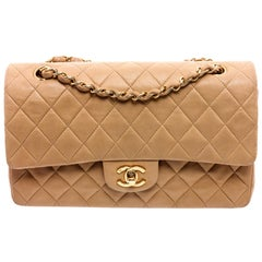 Chanel Vintage Beige Leather Medium Classic Double Flap Bag