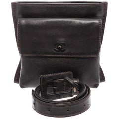 Chanel Vintage Black Leather CC Belt Waist Bag