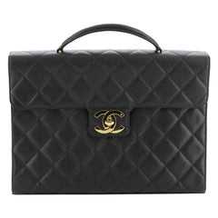 Chanel Vintage CC Briefcase Quilted Caviar Large