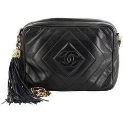 Chanel Vintage Diamond CC Camera Bag Quilted Leather Medium
