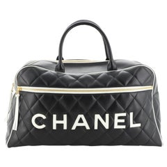 Chanel Vintage Logo Bowler Bag Quilted Lambskin Large