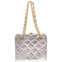 Chanel Vintage Metallic Silver Mini Quilted Evening Bag