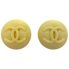 Chanel white celluloid CC Button Earrings 1996