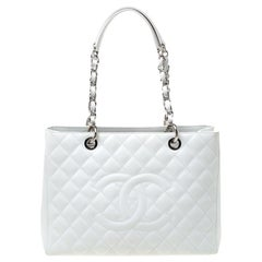 Chanel White Quilted Caviar Leather Grand Shopper Tote