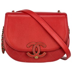 Chanel Women's Cross Body Bag Red Leather