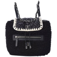 Chanel Wool Nylon Quilted Coco Neige Backpack Black