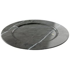 Charger Plate in Imperial Grey Marble Contemporary Design Pieruga Marble, Italy
