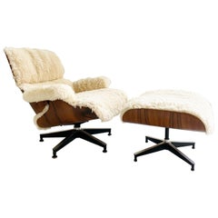 Charles and Ray Eames 670 Lounge Chair and 671 Ottoman in California Sheepskin
