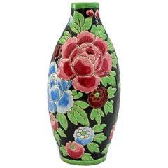 Charles Catteau Boch Freres Keramis Peonies Art Pottery Vase, 1932