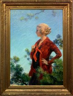 Scarlett in Gold, American Impressionist Female Portrait in Nature, 1920