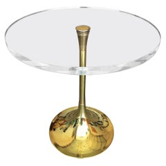"""Charles Hollis Jones """"Bugle"""" Base Side Table in Brass and Lucite"""