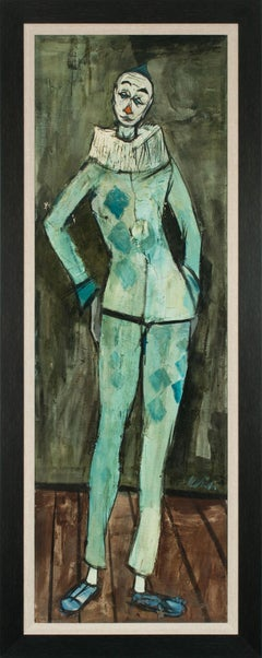[Arlequin Debout] Large 5.5-Foot Framed Oil Painting by Charles Levier