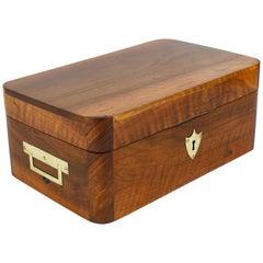 Charming Biedermeier Walnut Casket Box Jewelry Box with Brass, Austria, 1950s