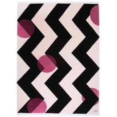 Black white Wool Rug w/ shades of pink  by Cecilia Setterdahl for Carpets CC