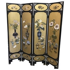 Chic Art Deco, Gilt and Lacquered Chinese Coromandel Screen
