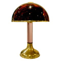 Chic Table Lamp with Tortoiseshell Lucite Shade, 1970s