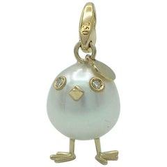 Chick Pearl White Diamond 18 Karat Gold Pendant, Necklace or Charm