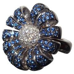 Chimento Italian Aig Certifate 18 Kt White Gold, 1.25 Ct Sapphires Diamonds Ring