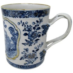 Chinese Canton Porcelain Blue White Dragon Tankard Mug Qianlong 18th Century