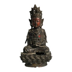 Chinese Ming Dynasty Lacquered and Gilt Bronze Bodhisattva, 17th Century