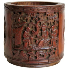 Chinese Scholars Bamboo Brush Pot or Bitong Finely Carved Signed, 19thC. Qing