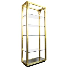 Chinoiserie Mastercraft Style Brass with Smoked & Mirrored Glass Shelves Étagère