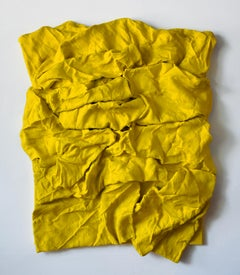Senegal Yellow Folds (hardened fabric, contemporary art design, wall sculpture)