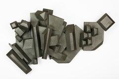 Gray Chromatic Crystals (wall sculpture, contemporary design, wood art, glitter)