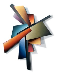 Line Interrupted - Hand Painted Steel Wall Sculpture Abstract Geometric Form
