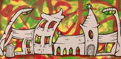Silver Street with Abstract Background Pop Art by British Urban Graffiti Artist