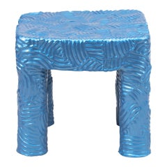 Chris Wolston Painted Blue Terracotta Side Table 'Outdoors/Indoors'